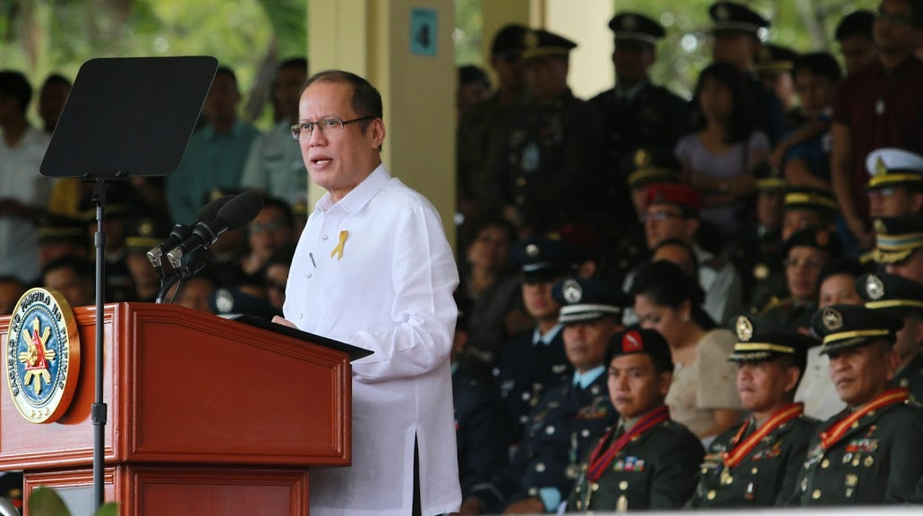 "President Benigno S. Aquino III addresses the 79th founding anniversary celebration of the Armed Forces of the Philippines at the AFP General Headquarters Grandstand of Camp Aguinaldo in Quezon City on Thursday (December 18). This year's theme is: ""Sandatahang Lakas: Ika-79 na Taong Naglilingkod ng Tapat tungo sa Kapayapaan, Kaunlaran at Kasaganaan."" Also in photo are Defense Secretary Voltaire Gazmin, Senate President Franklin Drilon and Metropolitan Manila Development Authority chairman Francis Tolentino. (Photo by Rey Baniquet / Malacañang Photo Bureau)"