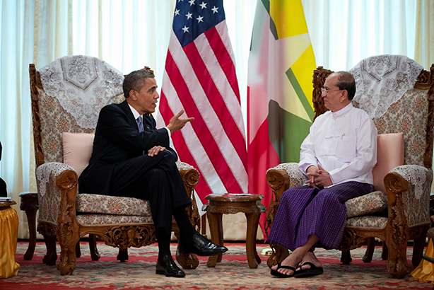 President Barack Obama holds a bilateral meeting with President Thein Sein of Burma at the Burma Parliament Building in Rangoon, Burma, Nov. 19, 2012. Official White House Photo / Pete Souza