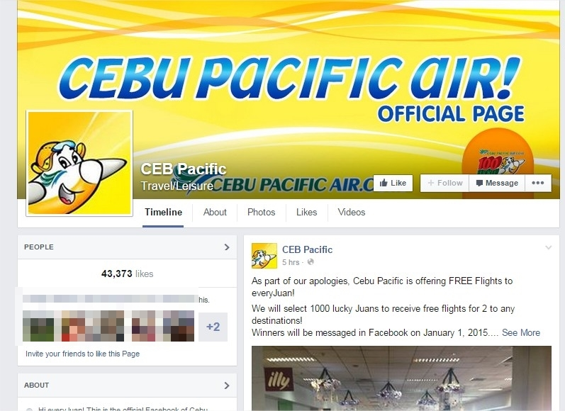 """ALL A HOAX. The fake """"CEB Pacific"""" page posted a free flight promo, which drew thousands of netizens to join."""