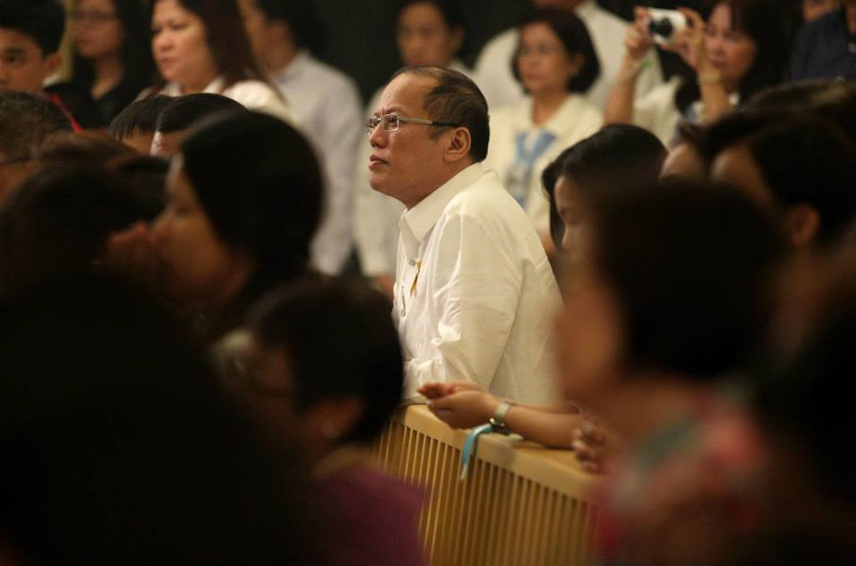 President Benigno S. Aquino III attends the Solemn Eucharistic Celebration of the 25th Anniversary of the Dedication of the Shrine of Mary, Queen of Peace, Our Lady of EDSA at the Main Chapel of the EDSA Shrine in Ortigas Avenue, Mandaluyong City on Monday (December 15, 2014). December 15, 1989, His Eminence Jaime Cardinal Sin consecrated and dedicated the EDSA Shrine to Our Lady, Queen of Peace, who miraculously interceded to oust the dictatorship and restore democracy in the peaceful, bloodless People Power Revolution of 1986. (Photo by Robert Viñas/ Malacañang Photo Bureau)
