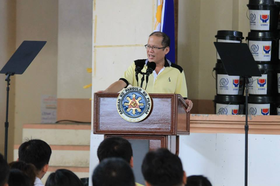 President Benigno S. Aquino III delivers his speech during the Early Recovery Program Launch Program for Typhoon Ruby affected victims at the Provincial Capitol Gymnasium in Barangay Alang-alang, Borongan City, Eastern Samar on Monday (December 22, 2014). (Photo by PIA 8/ Malacañang Photo Bureau)