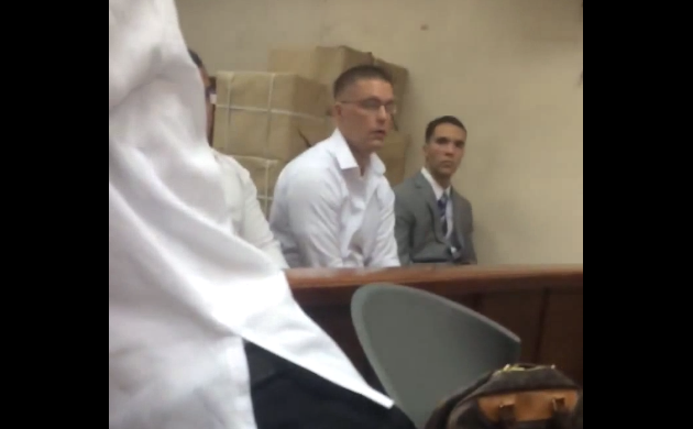 U.S. Marine Pfc. Joseph Scott Pemberton (center) attends court hearing (screengrab from footage by Atty. Harry Roque)