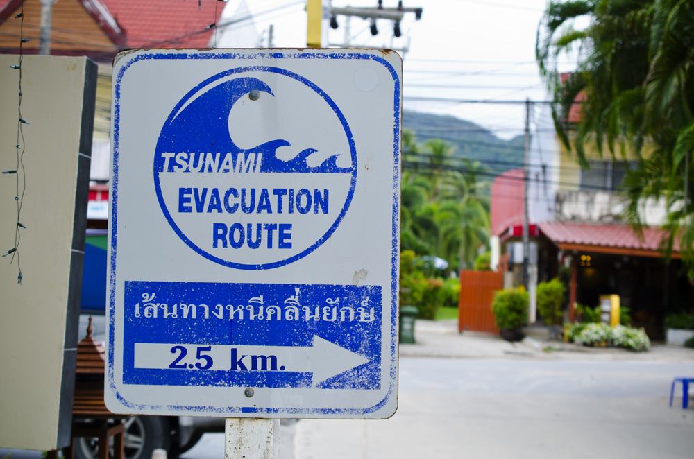 """Tsunami Evacuation"" sign in Phuket, Thailand. In 2004, during the tsunami in Phuket drowned 5,300 people (Oleg Golovnev / Shutterstock)"