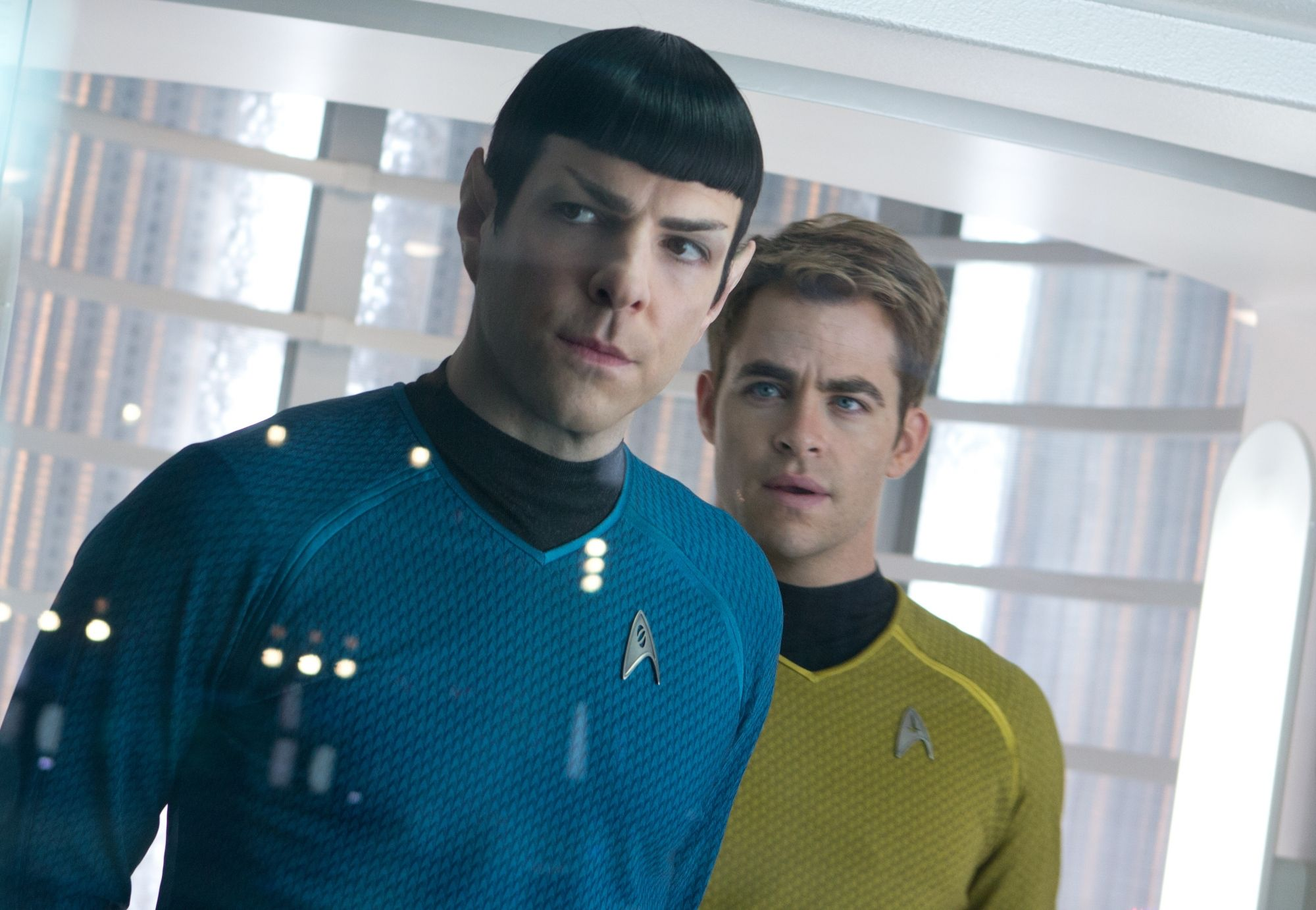 Zachary Quinto as Spock and Chris Pine as Captain Jim Kirk on 'Star Trek: Into Darkness' (2013)