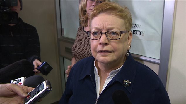 Manitoba NDP Leader Ellen Olfert (screenshot from Winnipeg Free Press footage)