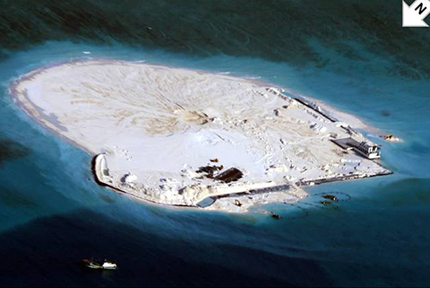 Photo of China's reclamation work taken by Philippine's aerial surveillance.
