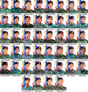FALLEN HEROES: The 44 members of PNP Special Action Forces killed in Mamasapano, Maguindanao (Facebook photo)