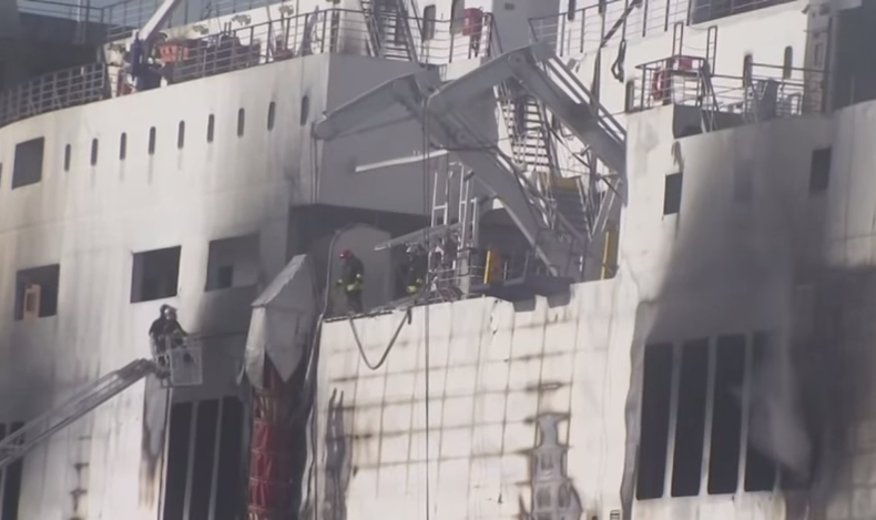 Heat and smoke further complicating search and retrieval operations in Greek ferry (screenshot from AP footage)