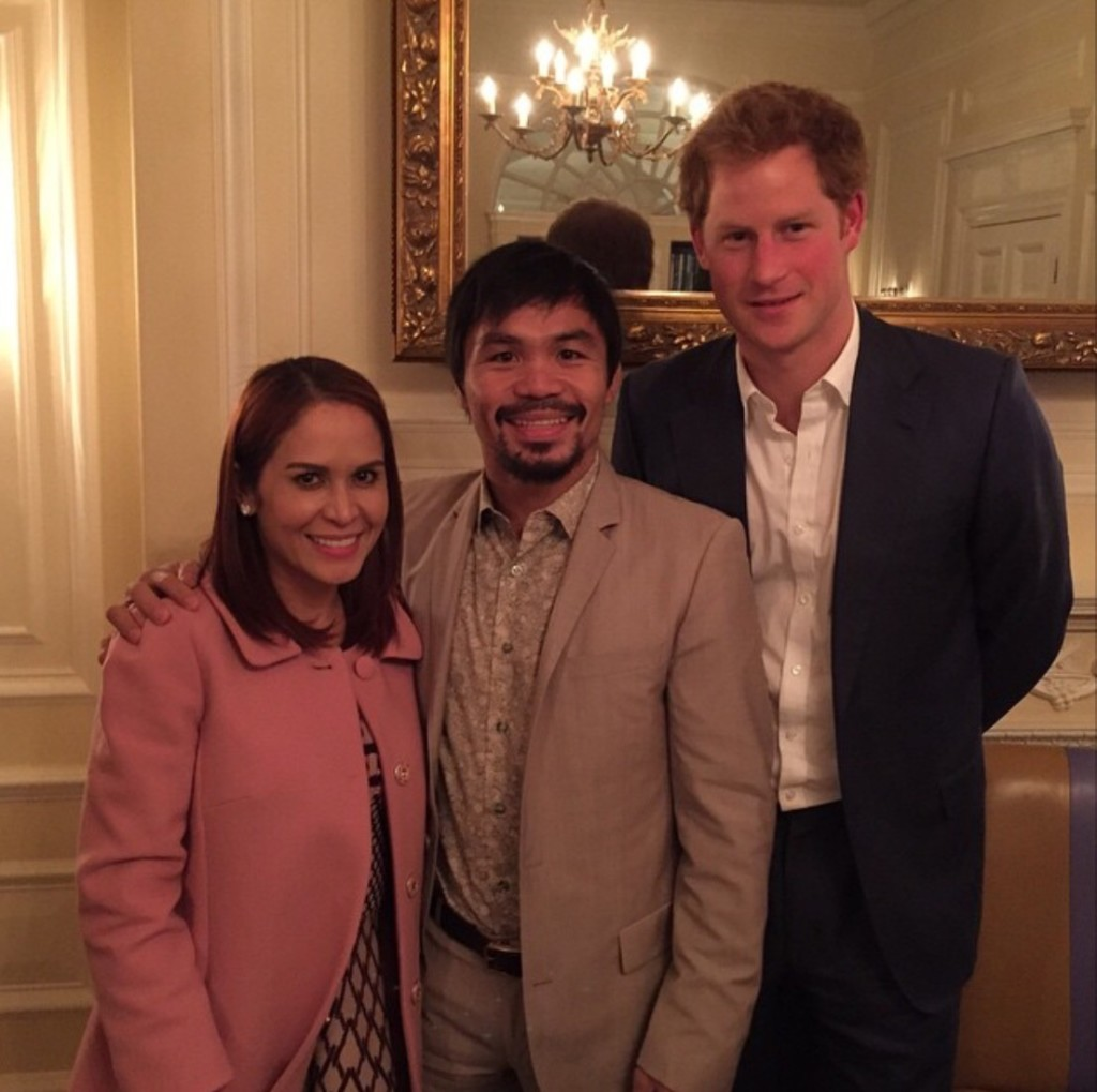 Manny Pacquiao and wife Jinkee with Prince Harry (Photo courtesy of @emmanuelpacquiao on Instagram)