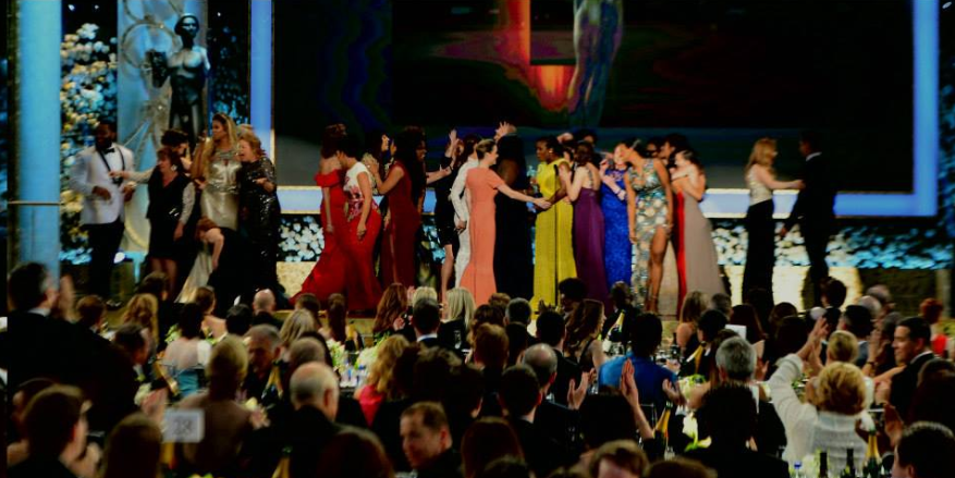 The cast of 'Orange is the New Black' on stage at the Screen Actors' Guild Awards (SAG Awards Facebook page)