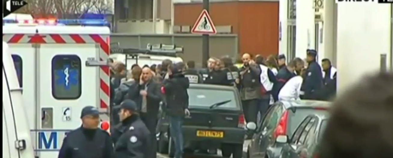 12 dead in Paris shooting (screenshot from Associated Press footage)