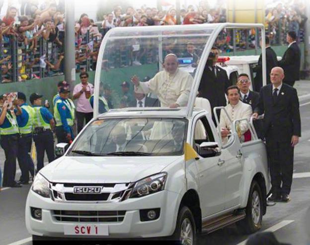 Pope Francis' customized Isuzu DMax pope mobile (photo courtesy of Isuzu Philippines Facebook page)