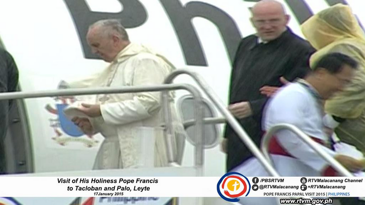 Pope Francis' Tacloban trip was cut short due to Tropical Storm 'Amang.' Storm Signal #2 already raised in Tacloban City and other provinces in Visayas. (RTV Malacanang photo)