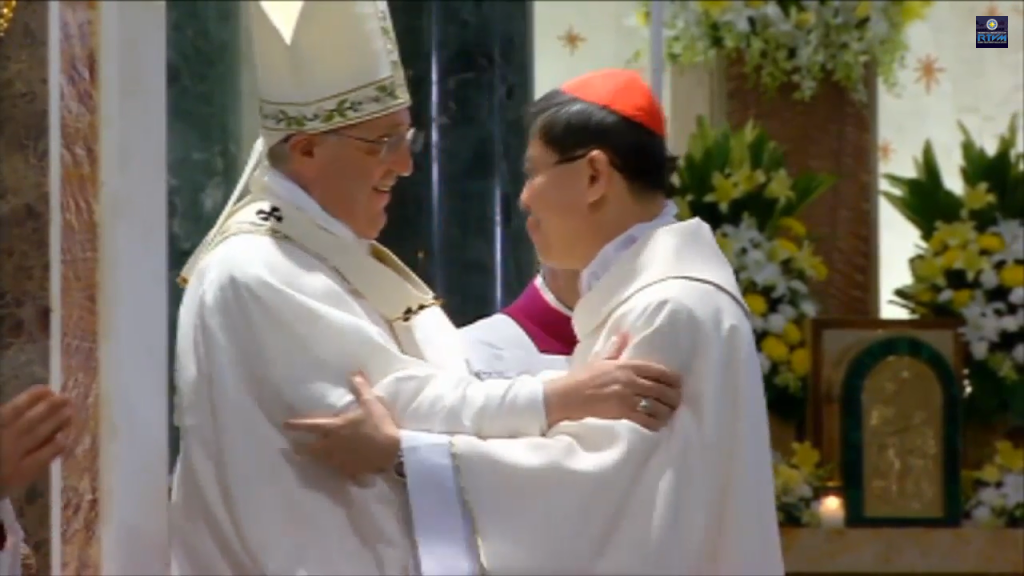 Pope Francis hugs Cardinal Luis Antonio Tagle after Tagle's welcome message for the Pope at the Manila Cathedral, January 16, Friday.
