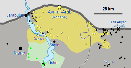 A map showing progression of the Siege of Kobanî, from October 2014 to January 2015. Wikimedia Commons.
