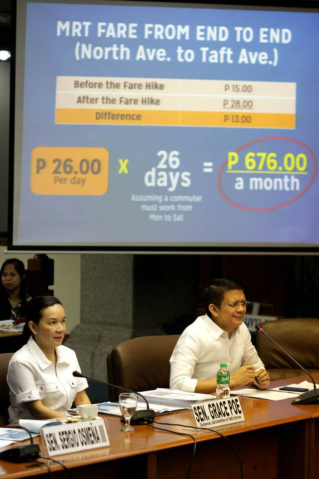 Senators Grace Poe and Francis 'Chiz' Escudero at the MRT-LRT Senate hearing (Photo courtesy of Sen. Grace Poe's Facebook page)