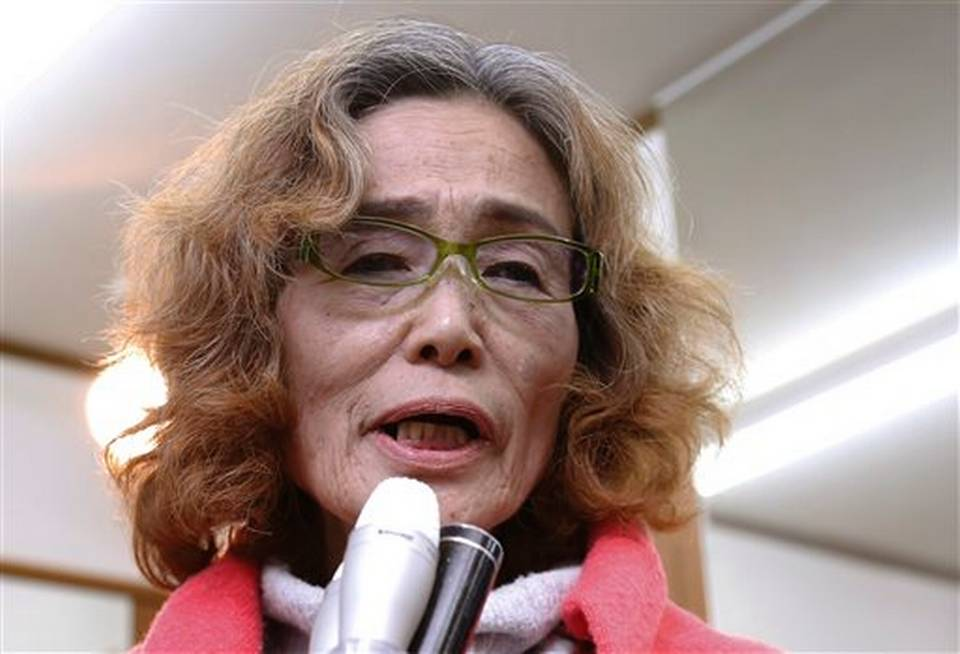 Rinko Jogo, wife of slain Japanese journalist Kenji Goto (Screenshot from AP footage)