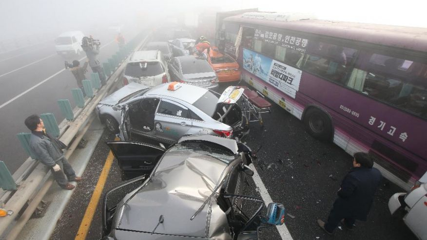 Hundred-car pile up in South Korea (screenshot from ABC footage)