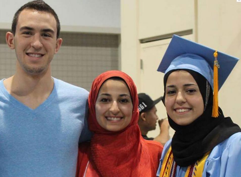 UNC Chapel Hill shooting victims Deah Shaddy Barakat, 23, his wife, Yusor Mohammad Abu-Salha, 21, and her sister, Razan Mohammad Abu-Salha, 19 (Facebook photo)