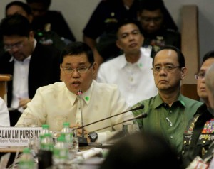 Resigned PNP Chief Gen. Alan Purisima at Thursday's (Feb 12, 2015) Senate hearing on the Mamasapano clash (Photo courtesy of Sen. Grace Poe's Facebook page)