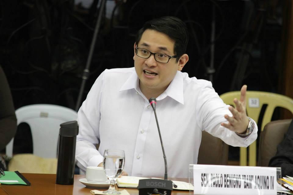 Sen. Bam Aquino at the Senate hearing on the Mamasapano clash (Photo courtesy of Sen. Grace Poe's Facebook page)