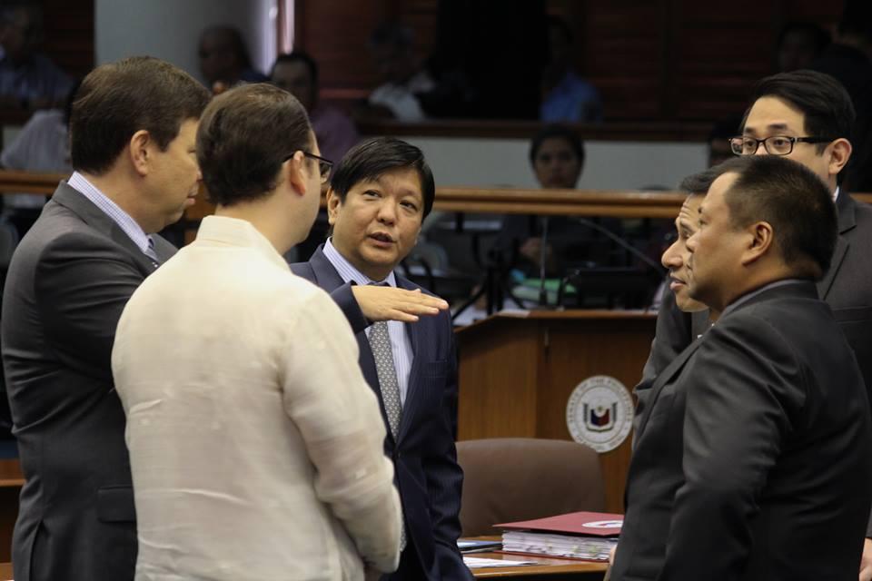 Sen. Bongbong Marcos (center) with fellow senators (Facebook photo)