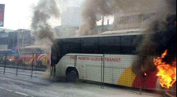 A First North Luzon bus catches fire along EDSA in November 2013 (Photo courtesy of Sec. Joel Villanuave via Twitter)