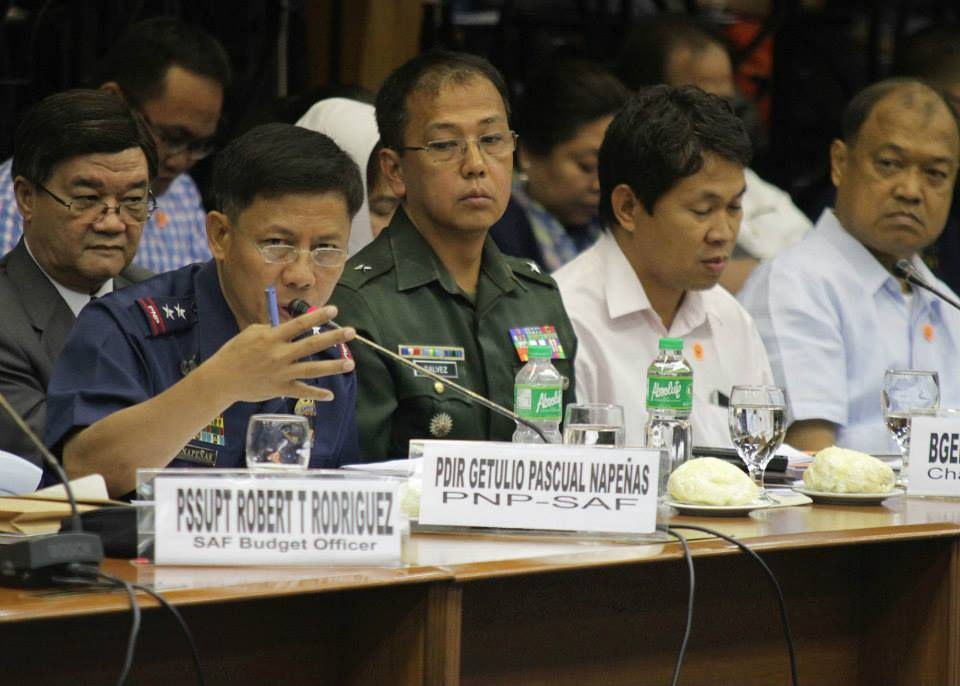 Sacked SAF Chief Getulio Pascual Napenas (center) at the Senate hearing on the Mamasapano clash (Photo courtesy of Sen. Grace Poe's Facebook page)