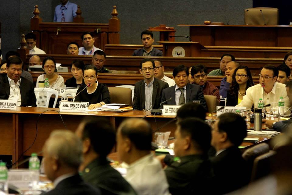 Thursday's (Feb 12, 2015) Senate hearing on the Mamasapano clash (Photo courtesy of Sen. Grace Poe's Facebook page)