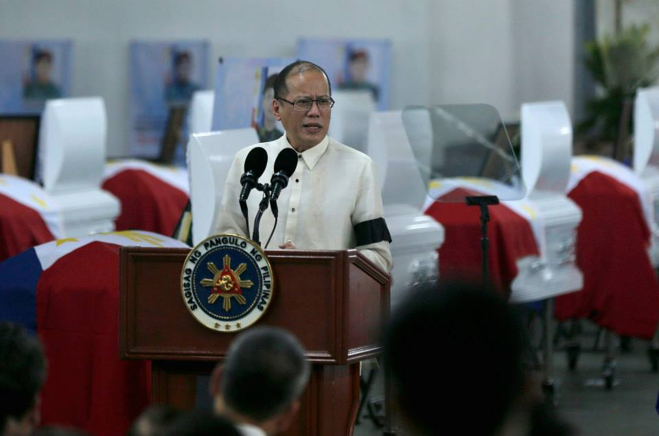 President Benigno S. Aquino III delivers his message during the Necrological Service for the fallen Philippine National Police-Special Action Force (PNP-SAF) Troopers at the NCRPO Multi-Purpose Center of Camp Bagong Diwa in Bicutan, Taguig City on Friday (January 30, 2015). (Photo by Gil Nartea / Malacañang Photo Bureau)