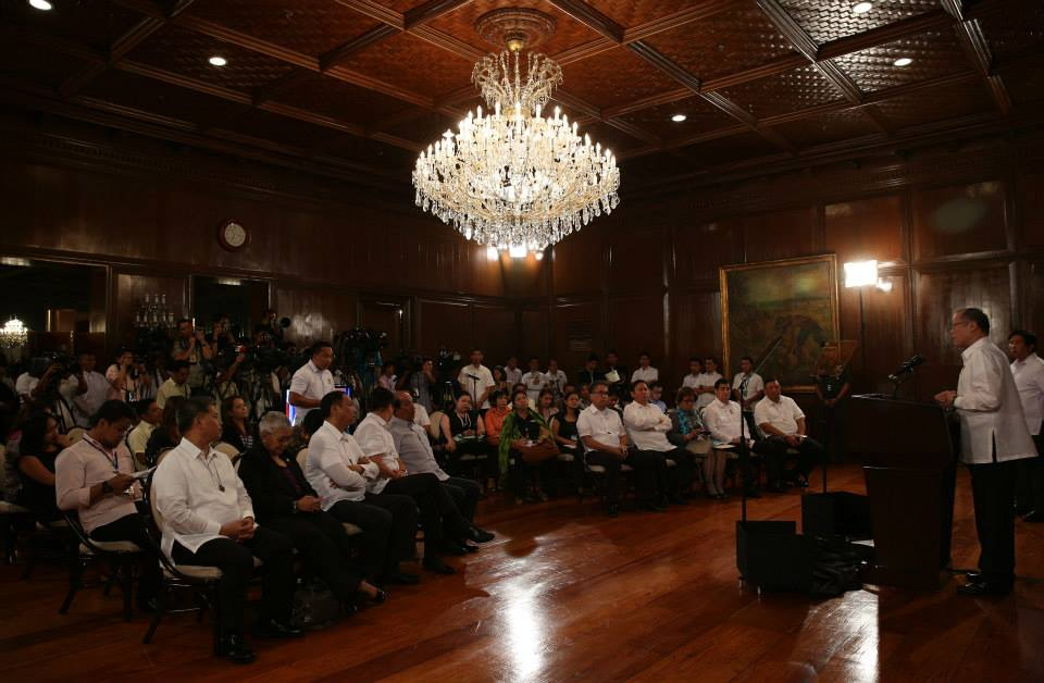 President Benigno Aquino III delivers his message about the Mamasapano clash (Malacanang Photo Bureau)