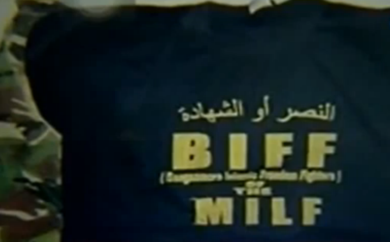 "FILE PHOTO: A shirt recovered by the AFP from Maguindanao says ""BIFF of the MILF,"" referring to two revolutionary groups: the Bangsamoro Islamic Freedom Fighters (BIFF) and the Moro Islamic Liberation Front (MILF). (screenshot from GMA News footage)"