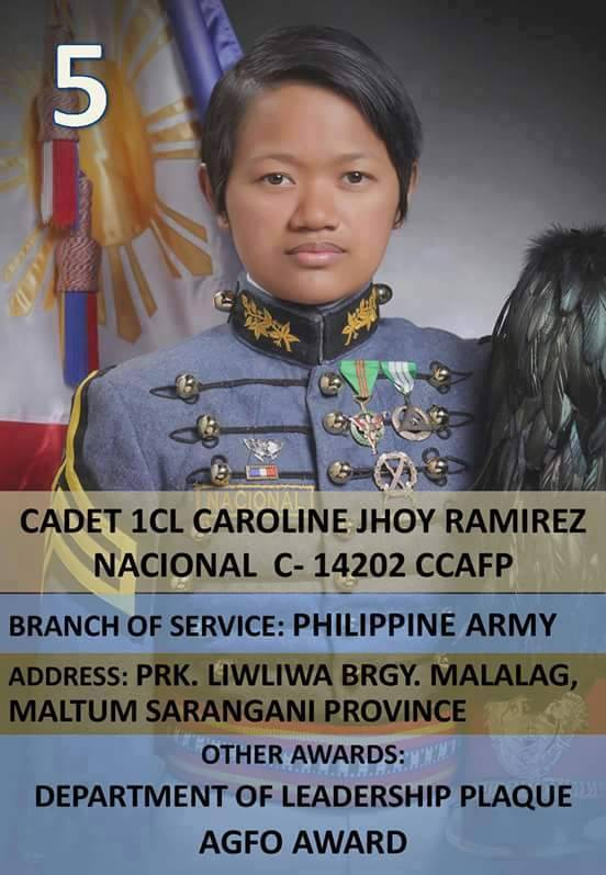 Cadet 1CL Caroline Jhoy Nacional (Photo courtesy of dwdd.gov.ph)