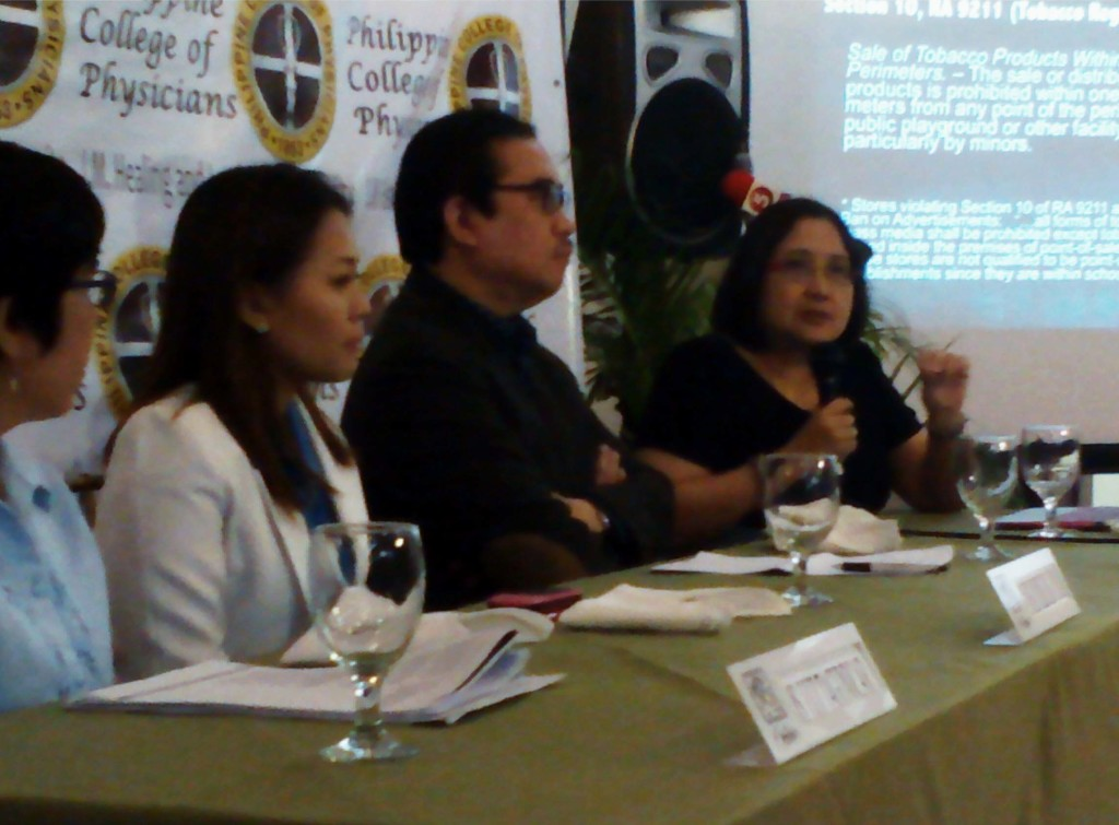 Dr. Anthony Leachon (3rd from left), Philippine College of Physicians (PCP) president, tackles the issue of stores violating Section 10 of Republic Act No. 9211 or the Tobacco Regulation Act of 2003 on the sale of tobacco products within 100 meters from any point perimeter of the schools, public playgrounds or other facilities frequented particularly by minors during a health forum on Tuesday (March 17, 2015) at Annabel's Restaurant in Quezon City. Also in photo (from left) are Ms. Luz Tagunicar, Department of Health (DOH) Supervising Health Program Officer; Dr. Angela Pauline P. Calimag-Loyola of the University of Santo Tomas (UST); and Dr. Maricar Limpin, Executive Director of the Framework Convention on Tobacco Control Alliance Philippines. (PNA photos by Johnny Guevarra)