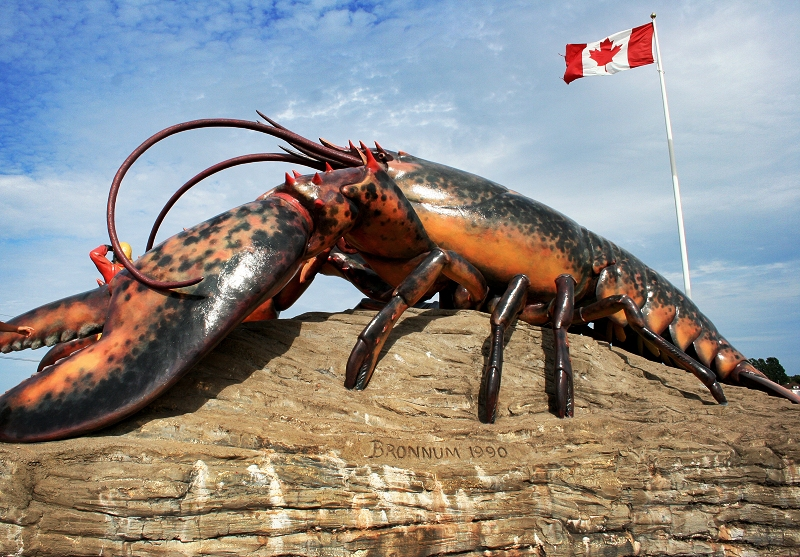 The world's largest lobster sculpture located in Shediac, New Brunswick. Wikimedia Commons.