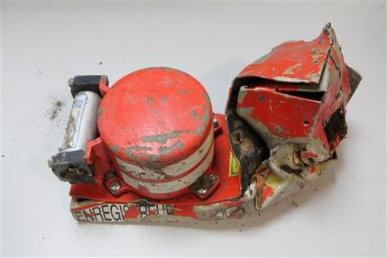 The French Air Accident Investigation Agency shows the voice data recorder of the Germanwings jetliner that crashed Tuesday in the French Alps (Bureau d'Enquetes et d'Analyses)