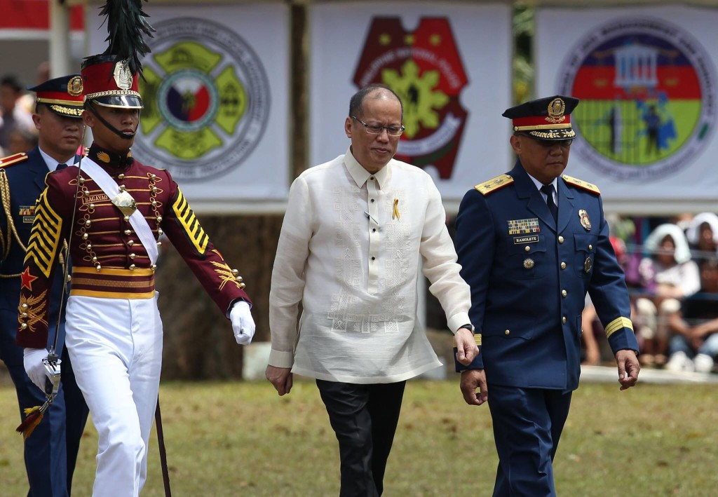 President Benigno Aquino III at the 36th PNPA commencement ceremony at Silang, Cavite (Malacañang Photo Bureau)