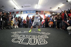 "Manny ""Pacman"" Pacquiao surrounded by the media at the Wild Card Gym (Photo by Chris Farina)"