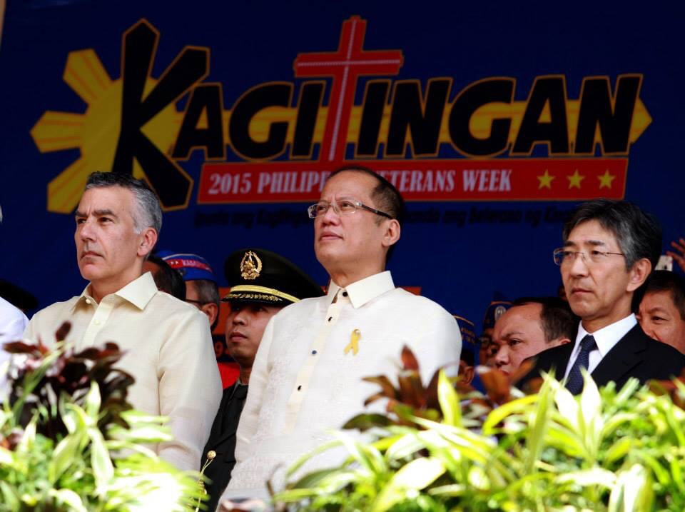 "President Benigno S. Aquino III leads the 73rd Commemoration of the Araw ng Kagitingan (Day of Valor) at the Dambana ng Kagitingan, Mt. Samat Shrine in Pilar, Bataan on Thursday (April 09, 2015). This year's theme: ""Ipunla and Kagitingan sa Kabataan, Ihanda ang Beterano ng Kinabukasan."" Also in photo are US Ambassador to the Philippines His Excellency Philip Goldberg and Japan Ambassador to the Philippines His Excellency Kazuhide Ishikawa. (Photo by Rey Baniquet / Malacañang Photo Bureau / PCOO)"