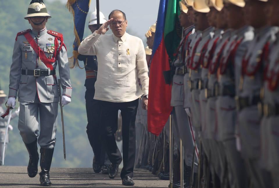 """President Benigno S. Aquino III troops the line upon arrival at the Dambana ng Kagitingan, Mt. Samat Shrine in Pilar, Bataan for the 73rd Commemoration of the Araw ng Kagitingan (Day of Valor) on Thursday (April 09, 2015). This year's theme: """"Ipunla and Kagitingan sa Kabataan, Ihanda ang Beterano ng Kinabukasan."""" (Photo by Lauro Montellano, Jr. / Malacañang Photo Bureau)"""