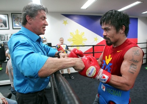 Sylvester 'Rocky' Stallone with Manny 'Pacman' Pacquiao at the Wild Card Boxing Gym. (Photo by Chris Farina)
