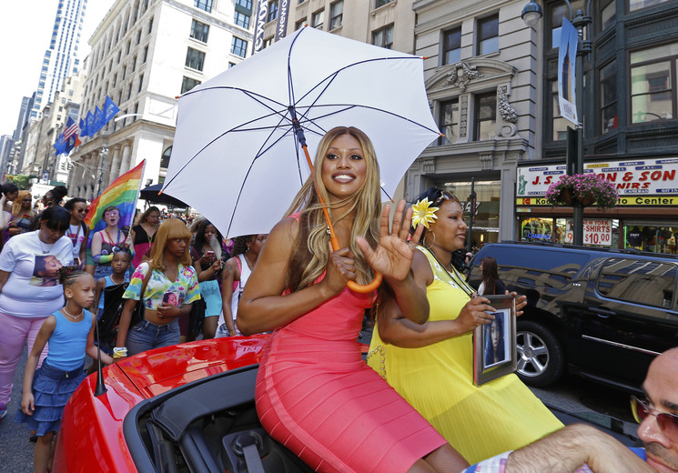 Celebrating the 45th anniversary of the Stonewall Riots & beginning of the modern gay rights movement, thousands marched along Fifth Ave Actress Laverne Cox Grand Marshal / June 2014 / New York City (A Katz / Shutterstock)