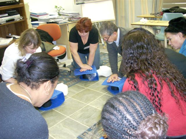 Students at Vercore performing CPR training.