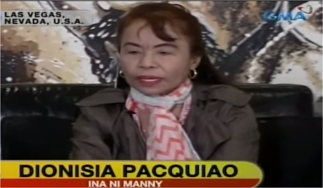Manny Pacquiao's mother, Dionisia Pacquiao, on a television interview after her son's fight. (Screengrab from GMA-7)