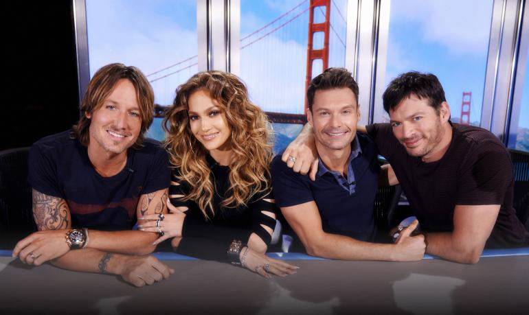 Amrican Idol host Ryan Seacrest (3rd from left) with judges (L-R) Keith Urban, Jennifer Lopez, and Harry Connick Jr. (Facebook photo)
