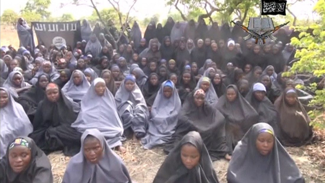 School girls kidnapped by extremist group Boko Haram (screenshot from Telegraph UK footage)