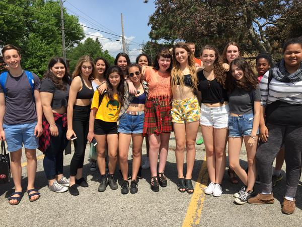 Students showed up in crop tops at a Toronto high school on Tuesday to protest the school's dress code (Facebook photo)