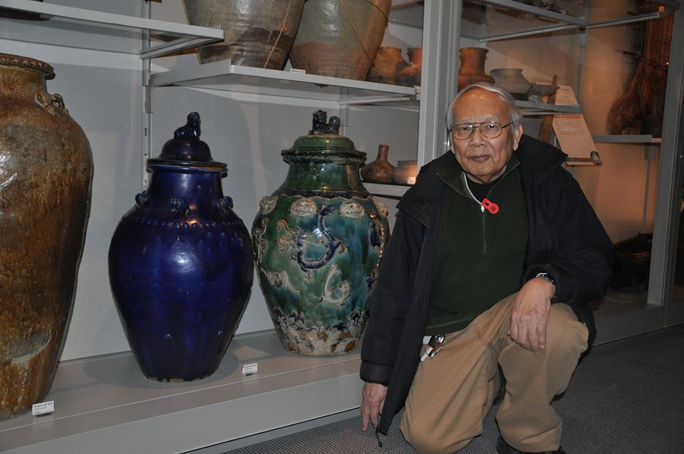 Dr. Tecson poses beside his favorite piece, a cobalt blue ceramic jar swapped by the Sobanons of Mindanao during the Chinese junk trade era. (Photo by Jun Cunanan)