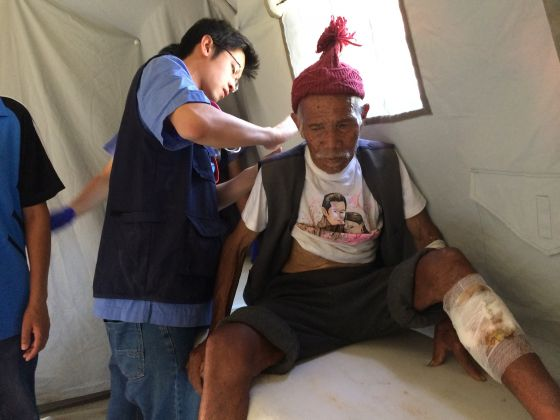 101-year-old Funchu Tamang was rescued from the ruins of Nepal one week after the devastating earthquake (Photo: Siau Ming En)