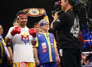 """Filipino boxing icon Manny """"Pacman"""" Pacquiao before his megabout with American undefeated boxer Floyd """"Money"""" Mayweather Jr. at the MGM Grand Garden Arena in Las Vegas on May 2. (Photo by Steve Marcus)"""